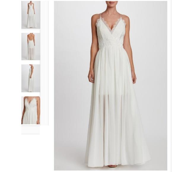 22356457fd Chloe White Lace Trim Halter Maxi Dress